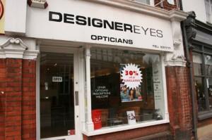 Designer eyes opticians shopfront in Old Cross, Hertford.